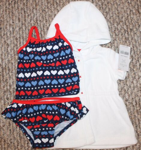 New - Size 3 6 Girls Carter/'s 3 pc Swim Set Tankini + Cover Up;Hearts 9 mo