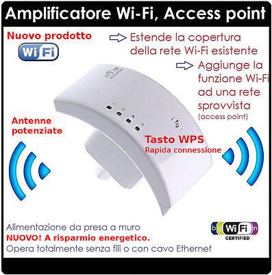 Pratico Newamplificatore Wifi Repeater 300 Mbps Ripetitore Wifi Range Extender Lan Rete