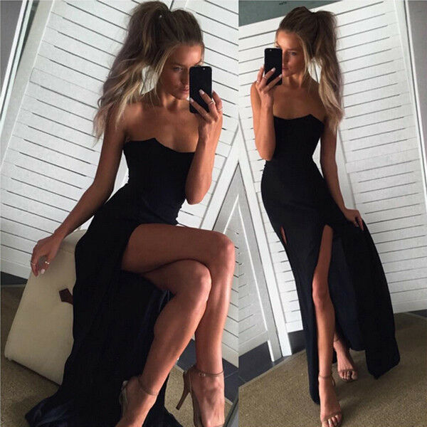 Womens Split Maxi Long Dress Formal Dress Evening Party Wrap Sleeveless Dress