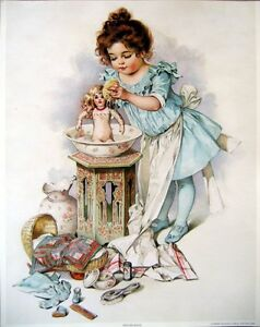 art-print-DOLLIES-BATH-Victorian-girl-with-doll-bed-clothes-child-vtg-repr-11x14