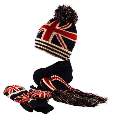 GB UNION JACK FLAG Beanie Scarf Fingerless Mittens Gloves Winter Combo Set