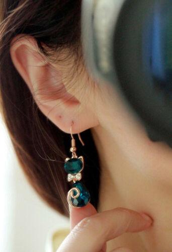 Femmes élégante Bow chat cristal strass oreille Stud boucles d/'oreilles bijoWLFR