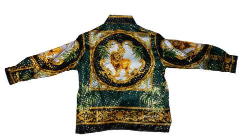Kid/'s Silk Casual Metallic Shirt Lion Design Long Sleve