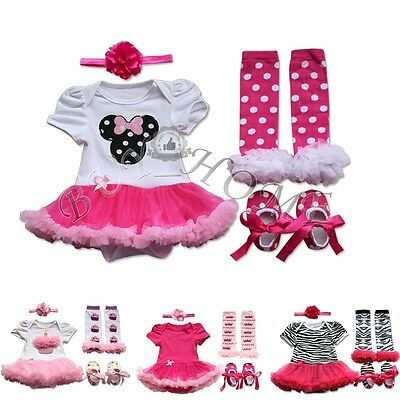 Infant Baby Girl Flower Headband+Tutu Romper+Leg Warmers+Shoes Outfit Clothes