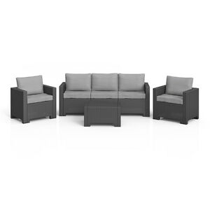 bica colorado lounge set polyrattan gartenm bel rattanoptik sitzgruppe grau ebay. Black Bedroom Furniture Sets. Home Design Ideas
