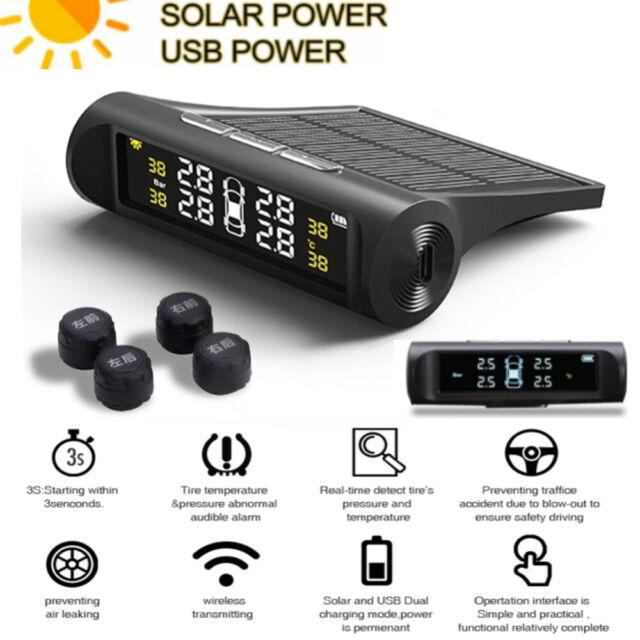 Solar Power Wireless TPMS Tire Tyre Pressure Monitor System+4 External Senor