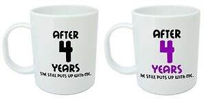 After 4 Years Him & Her Mugs - 4th Wedding Anniversary Gifts for ...
