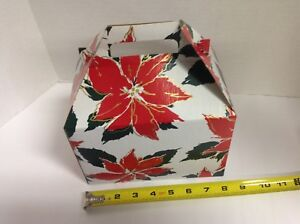 Details About 10pcs Poinsettia Christmas Gift Boxes Treat Boxes Favor Gable Box Boxes