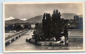 Geneva-Switzerland-Geneve-Rousseau-et-Mt-Blanc-Vintage-Photo-Postcard-A91