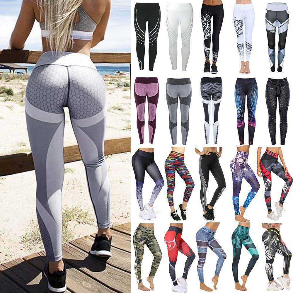 Women Printed Yoga Pants Butt Lift Leggings Fitness Running Sports Trousers