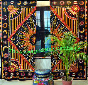 Cotton-Mandala-Curtains-Indian-Celtic-Wall-Drapery-2-Valances-Panel-Scarf-Hippie