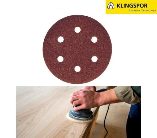 """Wood Varnish Paint Filler 150mm 6/"""" 6-Hole Sanding Discs Sandpaper KLINGSPOR"""