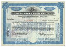 Federal Bond & Share Company Stock Certificate