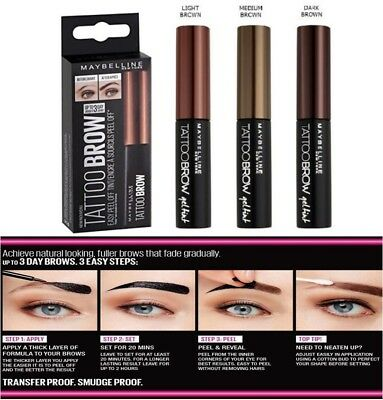 23e925f5d01 Maybelline New York Tattoo Brow Long Lasting Easy Peel Off Eyebrow Gel Tint  | eBay
