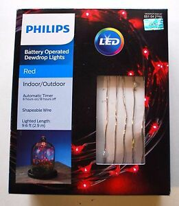 Philips Battery Operated Dewdrop Fairy Led Lights Red
