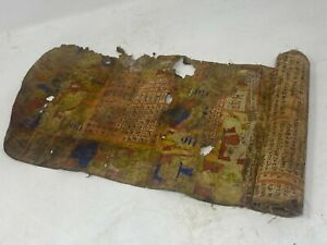 Antique Canvas Hand Written Hindu Religious Manuscripts With Miniature Painting