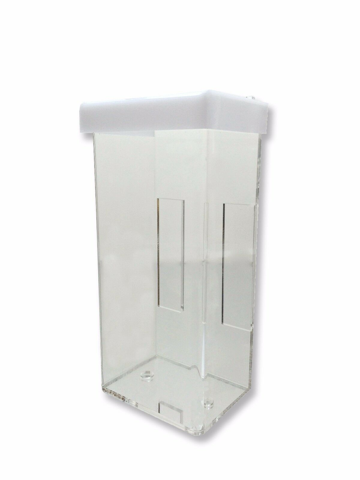 Lot of 2 Clear Tri Fold Outdoor Brochure Holder w  White Lid