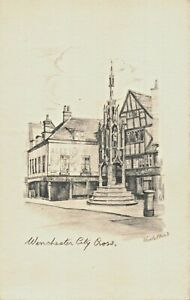 WINCHESTER-ENGLAND-LOT-OF-5-WOODSTONES-ARTIST-PENCIL-SKETCHED-POSTCARDS