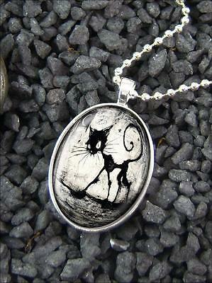 Cute Gothic Black Kitty Cat /& Moon Silver Glass Heart Halloween Pendant Necklace