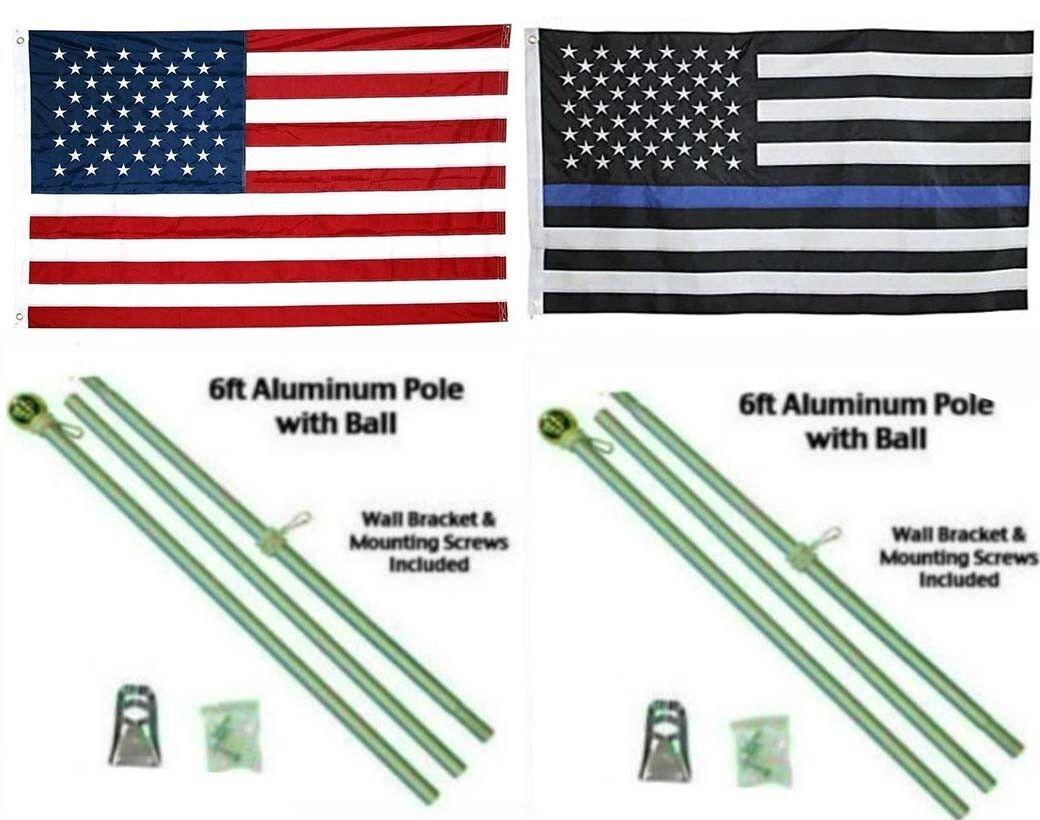 3x5 USA & Thin blå Line Embroideröd Nylon Flag Aluminum Pole Kit Ball 3'x5'