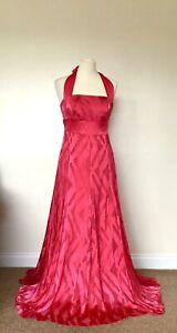 Monsoon-Silk-Maxi-Dress-12-Red-Halter-Neck-Burn-Out-Devore-Occasion-Wedding