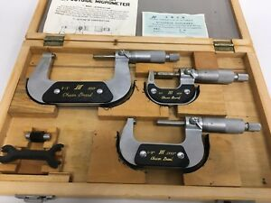 "Set Of Outside Micrometer With Standard 0-3/'/' Range .0001/"" Graduations"