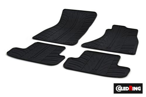 Alta Calidad Negro De Goma Tapetes Tailored-Coche Audi A4 B8 2008-2015 Clips