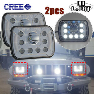 7x6inch-5x7-039-039-9-LED-Cree-Clear-Lens-Sealed-Beam-Headlight-DRL-H-L-Beam-for-GMC