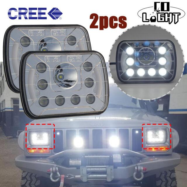 2pcs 7x6'' 5X7 CREE LED HEADLIGHT LIGHT BULB CRYSTAL SEALED BEAM HEADLAMP /w DRL
