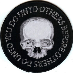 Do-Unto-Others-Patch-Skull-Death-Religious-Funeral-Rite-Prayer-Halloween-Goth