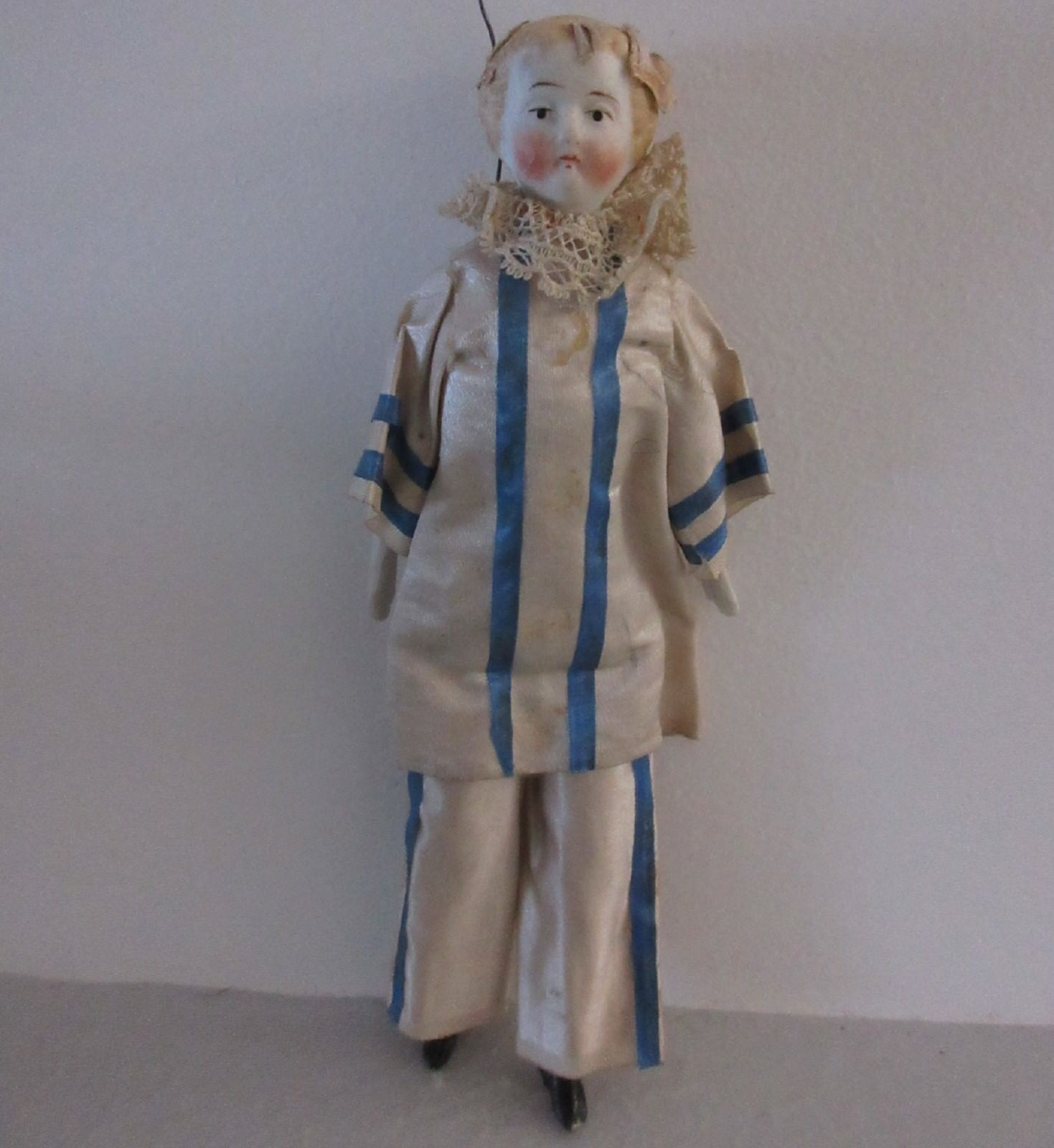 For Opera or Theater : Pierrot 6 1/4 in , head,arms,legs in bisque