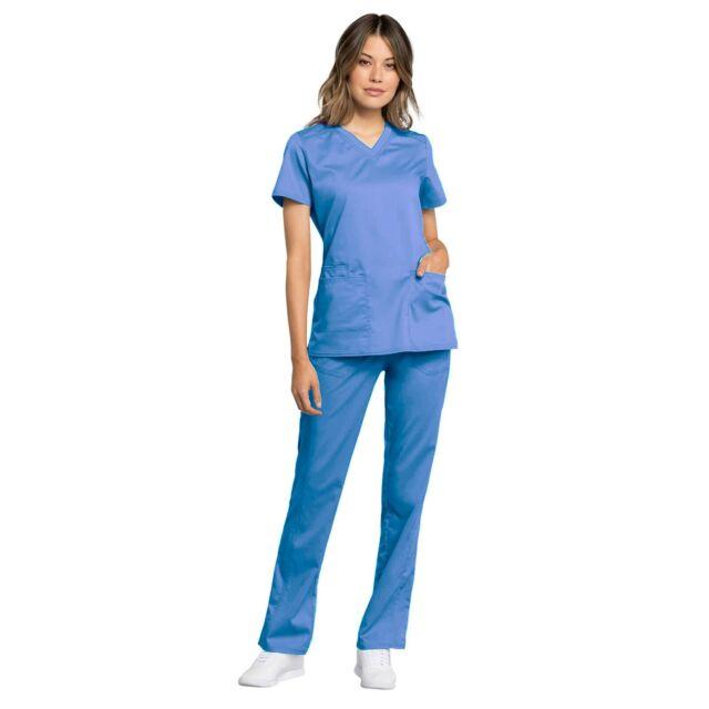 Cherokee Scrubs Set REVOLUTION TECH Women/'s V-Neck Top /& Pants WW770AB//WW235AB P