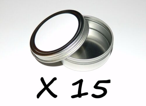 Use 4 Crafts 15 X 2oz Round Metal Blank White Label Screw Top Tin Can Container