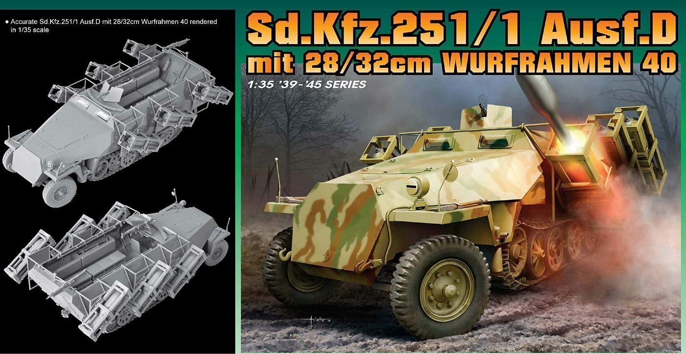 Dragon 1 3 5 6861  sd.kfz. 251 1 ausf.d with 28 32cm Litter Frame 40