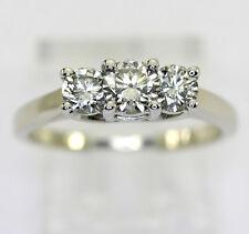 Diamond past present future engagement ring platinum 14K WG round brilliant .90C