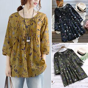 3843208c944 Plus Size Womens Summer Baggy Cotton Linen T-Shirt Tops Blouse Mini ...
