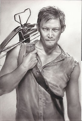 The Walking Dead Daryl Dixon Art Charcoal Drawing 10x15 Ebay