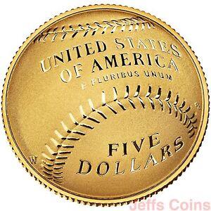 2014-W-National-Baseball-Hall-of-Fame-Gold-Proof-5-Dollar-US-Mint-Box-COA-B31