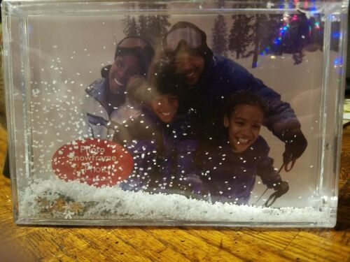 Snow  Floating Sparkle Clear Plastic Photo Photo Snowframe Picture Frames 4X6