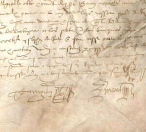 1565 Gothic manuscript document parchment DAMAGED medieval signature ORIGINAL
