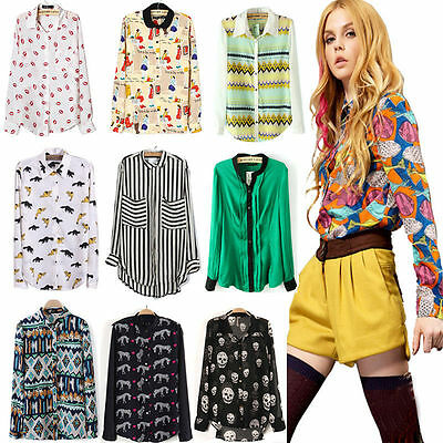 New Fashion Women Ladies Chiffon Long Sleeve Shirt Tops Blouse 20 Style Size S~L