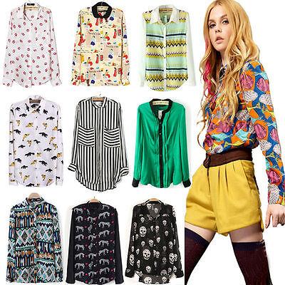 New Fashion Women Ladies Chiffon Long Sleeve Shirt Tops Blouse 20 Style Size S~L