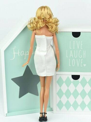 Fashion White Strapless Dress For 1//6 Doll Clothes One Piece Evening Dresses