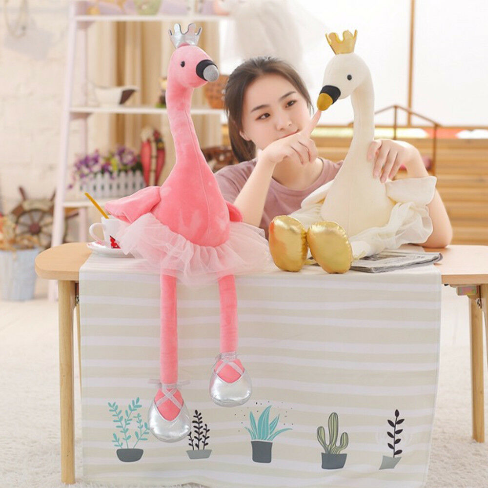 Cute Flamingo Soft Plush Toys Crown Ballet Swan Stuffed Baby Animals Gifts