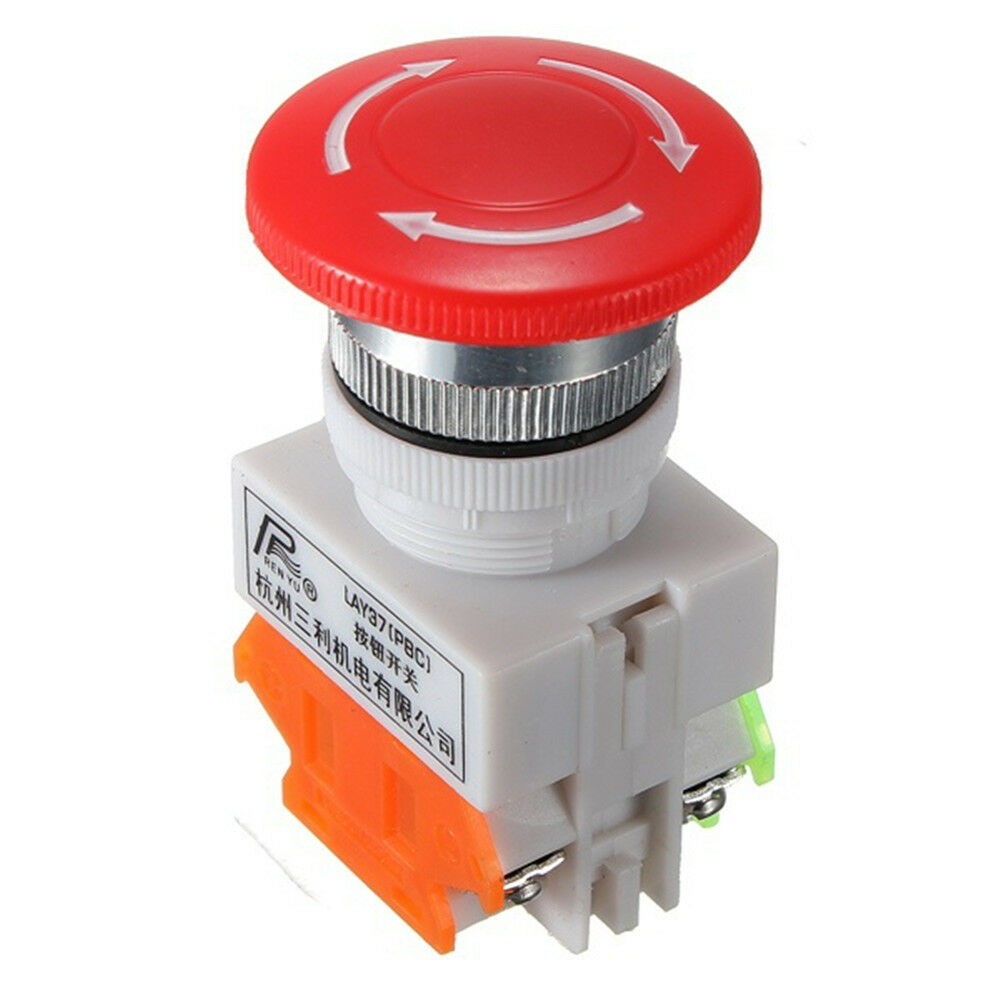 Switches Red Mushroom Cap 1no 1nc Dpst Emergency Stop Push Button Switch Ac 660v 10a Switch Equipment Lift Elevator Latching Self Lock