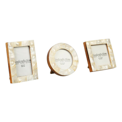 Baby Photo Frame Bone /& Mother of Pearl Handmade Natural Picture Frames Set of 3
