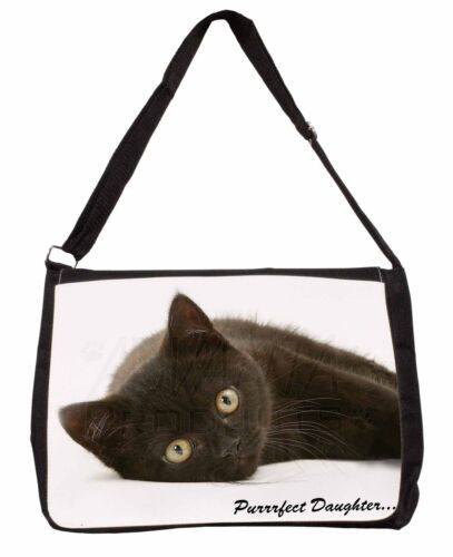 PD-185SB Black Kitten /'Purrrfect Daughter/' Large Black Laptop Shoulder Bag Scho
