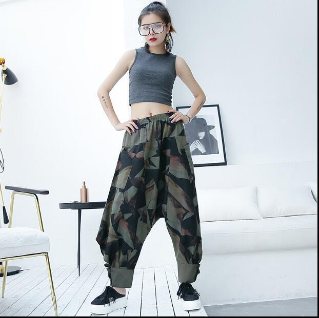 2018 women summer new camouflage green harem pants high waist pants casual loose