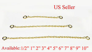 1mm Sterling Silver Solid Rope Chain Necklace Extender Safety Chain