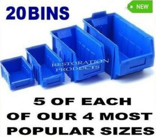 20 New Blue Plastic Stacking Parts Storage Bins In 4 Sizes Great Quality Eenvoudig En Eenvoudig Te Hanteren